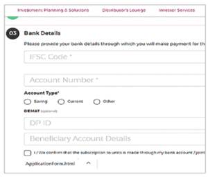 Write bank details