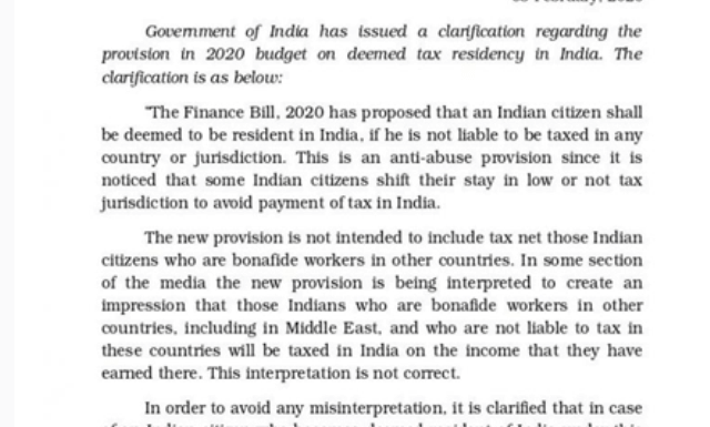 NRI Residential Status & Taxation (New) Rules FY 2020-21  Budget 2020