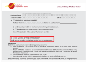delink aadhar from post office
