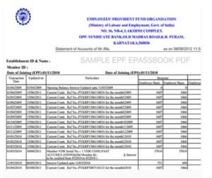 sample of EPF passbook